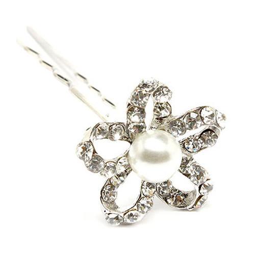 Bridal Wedding Jewelry Crystal Rhinestone Pearl Open Petal Floral Hair Pin White