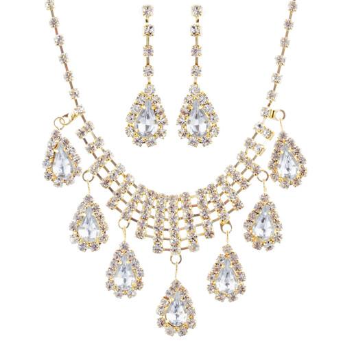 Bridal Wedding Jewelry Set Crystal Rhinestone Dangle Teardrop Necklace Gold J261