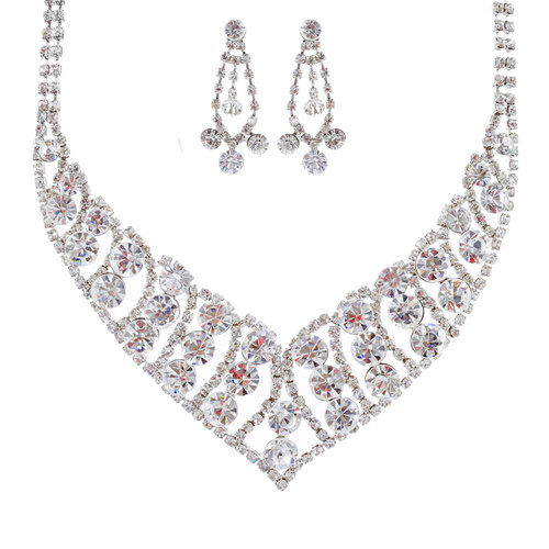 Bridal Wedding Jewelry Set Crystal Rhinestone Bubbly V Drop Necklace