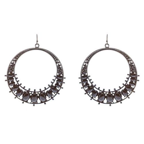 Fashion Large Hoop Drop Dangle Crystal Earrings Black