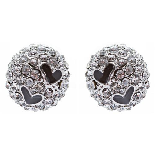 Adorable Sweet Crystal Rhinestone Heart Ball Fashion Stud Earrings Silver Clear