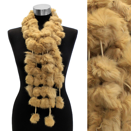 4-Strands Luxurious Rabbit Fur Ball Linked Scarf Camel