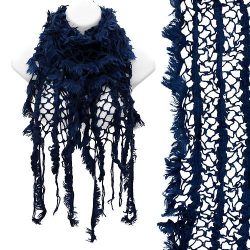 Vintage Net Design Furry Edge Detail Fringes Fashion Style Scarf Royal Blue