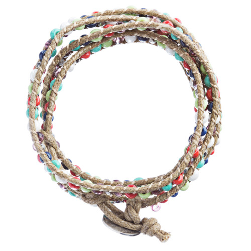 Beaded Brown String Cord with Button Knot Closure Wrap Bracelet Multi-Colored