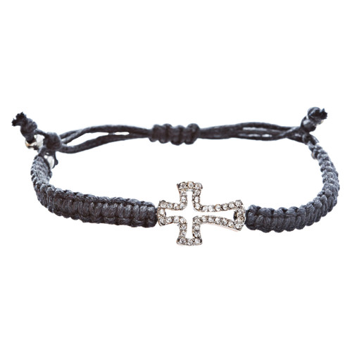 Braided Knot Pave Crystal Cross Charm Adjustable Fashion Bracelet Silver Black