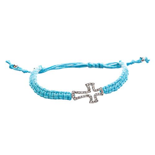 Braided Knot Pave Crystal Cross Charm Adjustable Fashion Bracelet Turquoise
