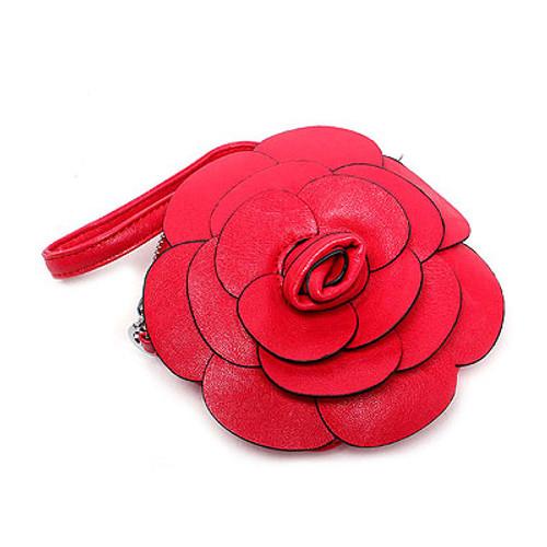 Beautiful Flower Design Cross Body Messenger Wrist Coin Purse Bag Red