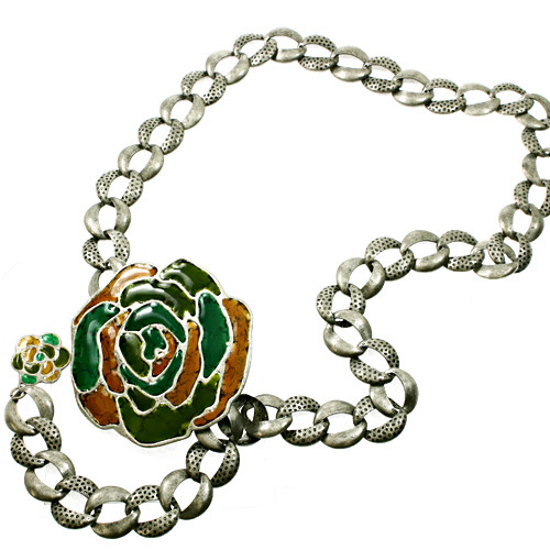 Linked Large Flower Circle Chain Woman Fashion Belt GN