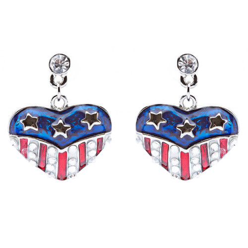 Patriotic American Flag Crystal Rhinestone Heart Charm Dangle Earrings Silver