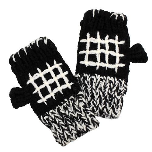 Hand Knitted Fingerless Gloves Mittens Fleece Liner White Pattern Black