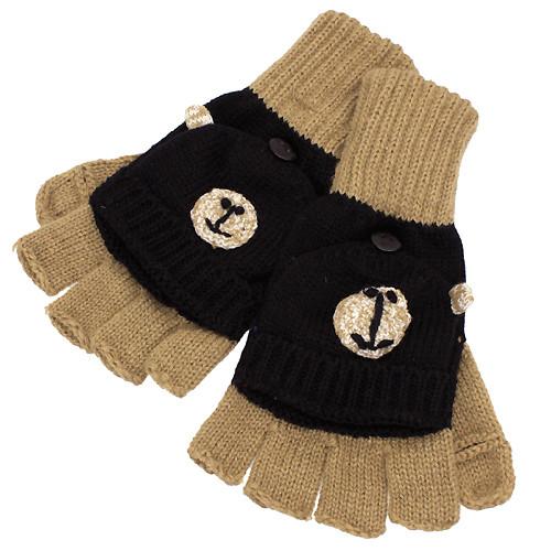 Knitted Fun 3D Animal Soft Fingerless Mittens Gloves Camel Black Bear