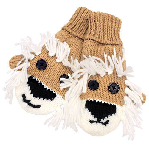 Knitted Fun 3D Animal Soft Mittens Gloves Camel Lion