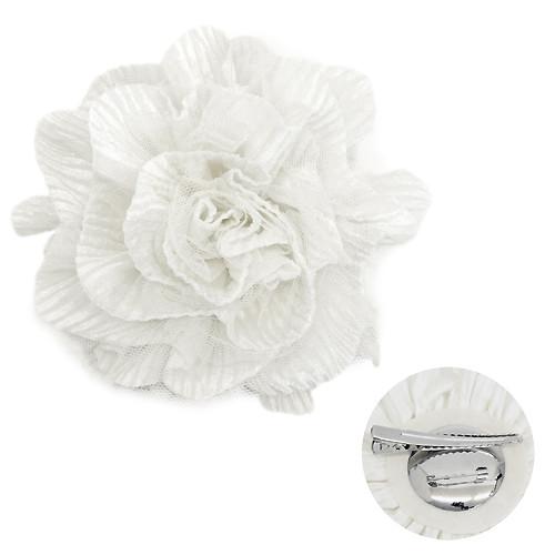 2-Way Velvet Big Flower Corsage Brooch Hair Pin White
