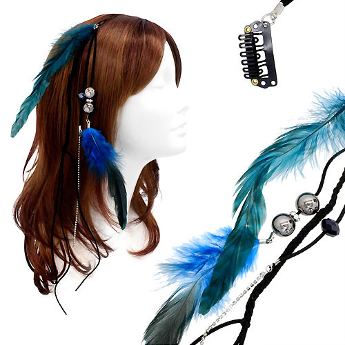 Feather Beaded Hair Extension Mini Hair Clip Comb Leather Cord Black Blue Teal