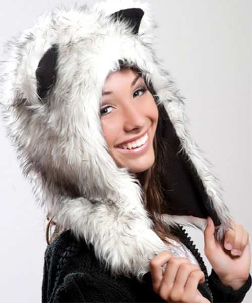 Faux Fur Plush 3D Half Animal Hood Hat Ear Flaps White Gray Husky