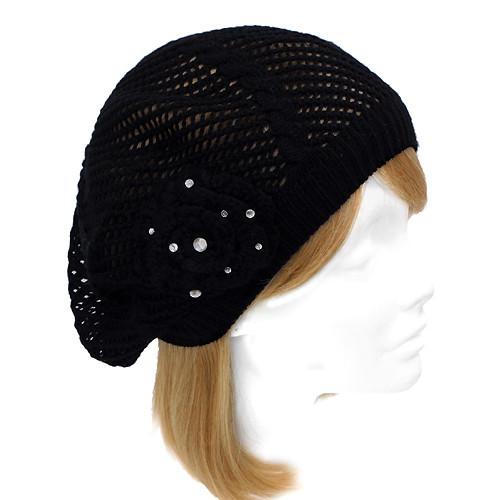Stylish Knit Crystal Decorated Lightweight Fashion Beret Hat Black