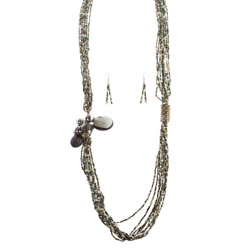Camouflage Design Seed Bead Long Necklace Earring Set