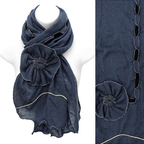 Beautiful Hand Crafted Flower Corsage Decorated Cold Weather Fashion Scarf Blue