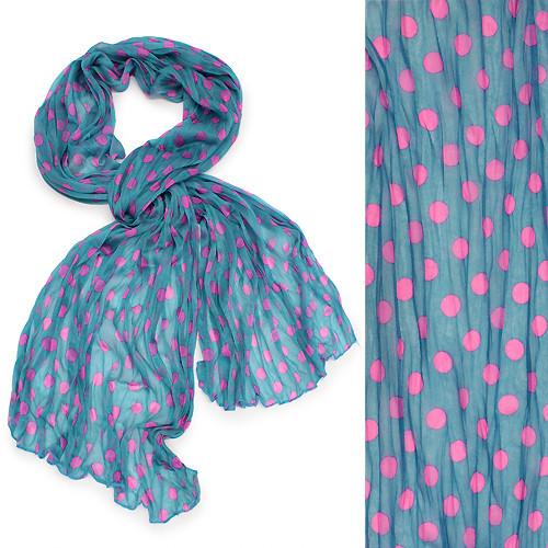 Adorable Sweet Polka Dot Pattern Lightweight Fashion Scarf Blue
