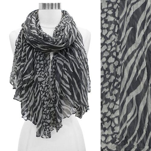 Duo Animal Print Pattern Crinkled Fashion Scarf Gray