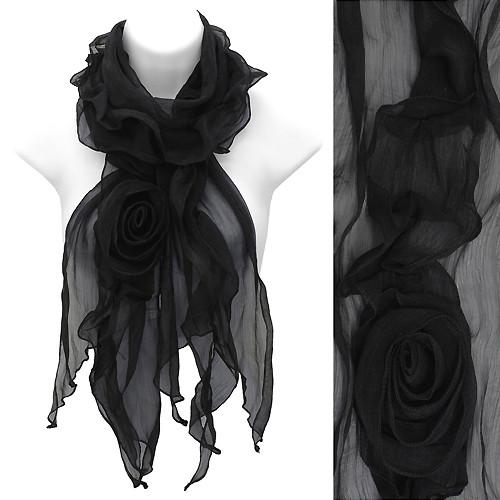 Beautiful Rose Floral Corsage Chiffon Lightweight Fashion Scarf Black