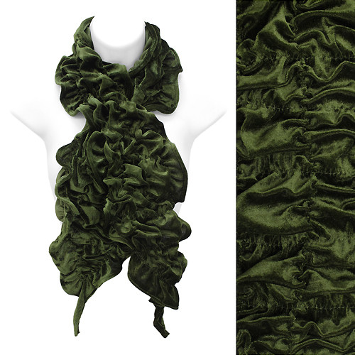 Silk Feel Velvet Stretch Ruffle Fashion Scarf Soft Glamorous Beautiful Green GN
