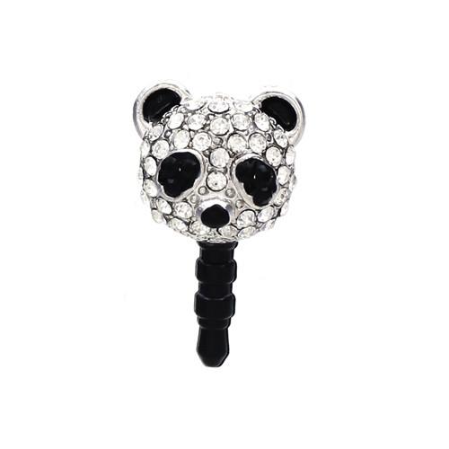 Earphone Dustproof Plug Stopper Phone Ear Cap Crystal Rhinestone Panda Black