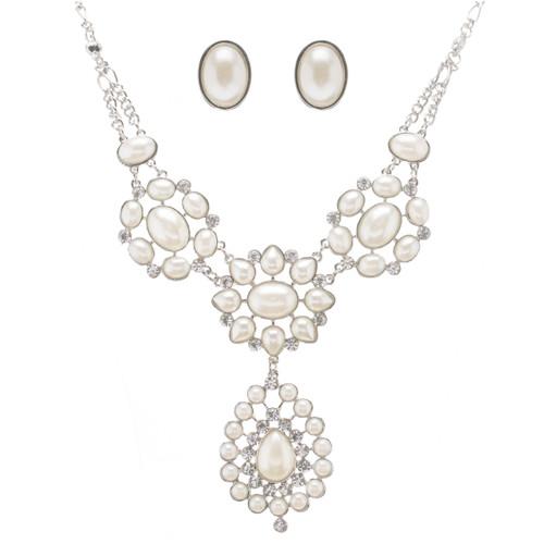 Bridal Wedding Jewelry Set Crystal Rhinestone Pearl Multi Shapes Vintage Silver