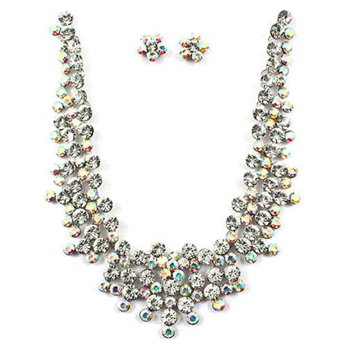Bridal Wedding Jewelry Set Crystal Rhinestone Stunning Cluster Necklace Silver