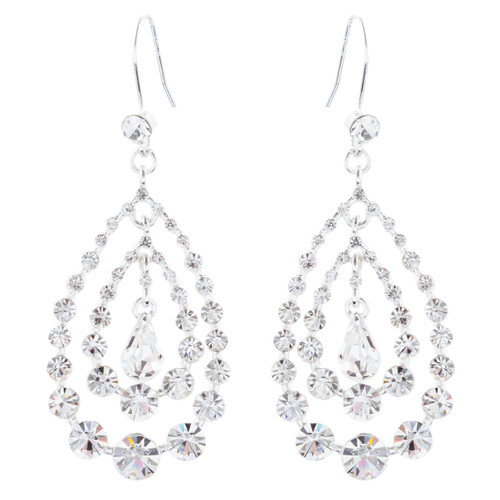 Bridal Wedding Jewelry Crystal Rhinestone Multi Teardrops Dangle Earrings Silver