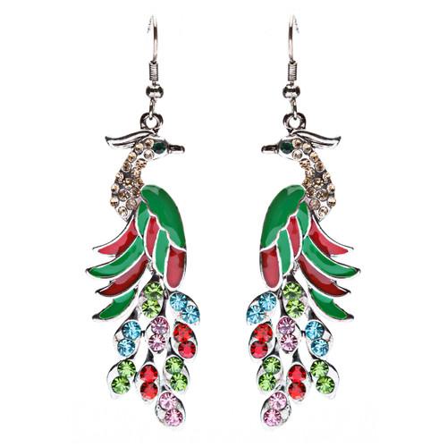 Gorgeous Dazzling Crystal Rhinestone Peacock Dangle Charm Fashion Earrings Multi