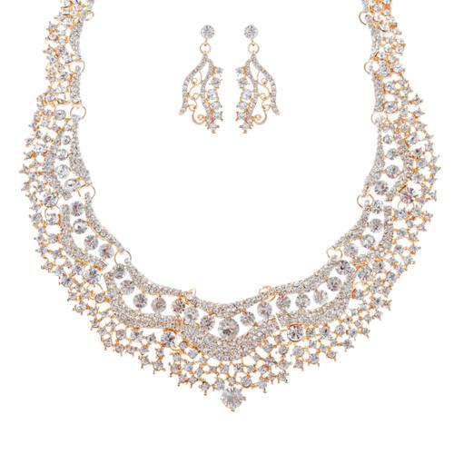 Bridal Wedding Jewelry Set Crystal Rhinestones Stunning Bib Necklace Gold