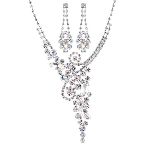 Bridal Wedding Jewelry Set Crystal Rhinestone Luxurious Chic Y Necklace Silver
