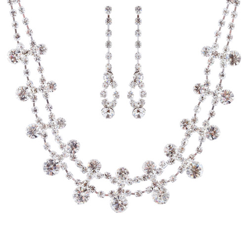 Bridal Wedding Jewelry Set Crystal Rhinestone Simple Liner Chic Necklace Silver