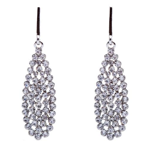 Bridal Wedding Jewelry Crystal Rhinestone Dazzle Teardrop Dangle Earrings Silver