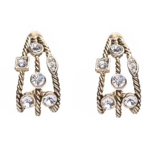 Fashion Trendy Chic Crystal Rhinestone Stylish Sparkle Hoop Earrings Gold