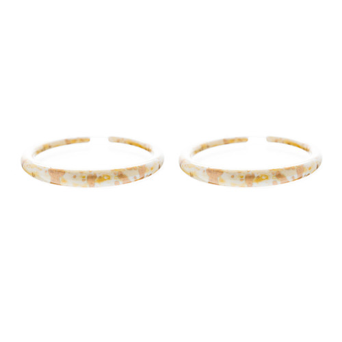 Fashion Stylish Chic Abstract Design Hoop Drop Earrings Creme Beige