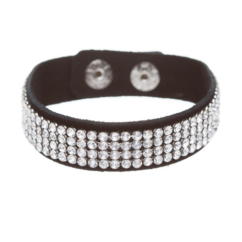 Simple Liner Sparkle Crystal Rhinestone Faux Leather Wrap Fashion Bracelet Clear