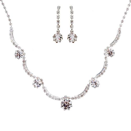 Bridal Wedding Jewelry Set Crystal Rhinestone Gorgeous Curved Design Necklace