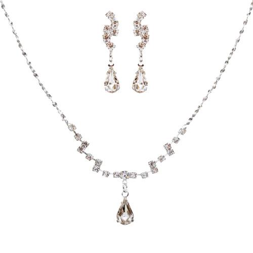 Bridal Wedding Jewelry Set Crystal Rhinestone Simple Teardrop Necklace Silver