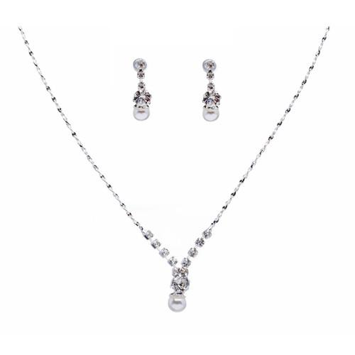 Bridal Wedding Jewelry Set Dainty Pearl Rhinestone