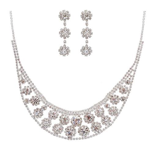 Bridal Wedding Jewelry Set Crystal Rhinestone Sunburst Bib Design Necklace