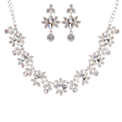 Bridal Wedding Jewelry Set Crystal Rhinestone Beautiful Marquise Necklace Silver
