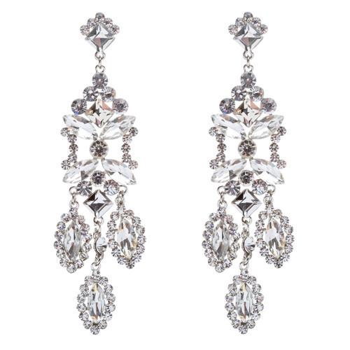 Bridal Wedding Jewelry Crystal Rhinestone Shine Dazzle Long Dangle Earrings