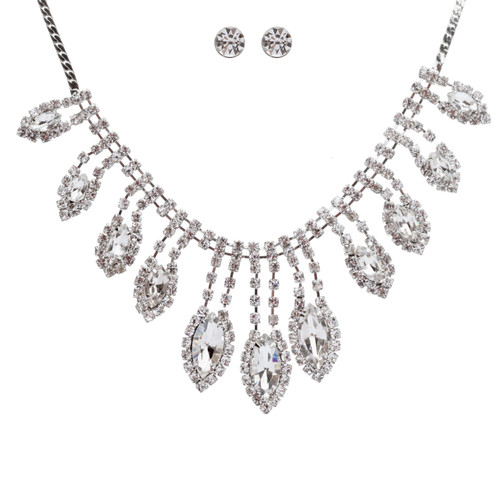 Bridal Wedding Jewelry Crystal Rhinestone Gleaming Dazzle Necklace Earrings SV