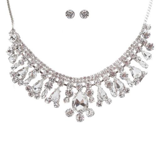 Bridal Wedding Jewelry Crystal Rhinestone Brilliant Bib Design Necklace Earrings
