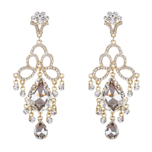 Bridal Wedding Jewelry Crystal Rhinestone Brilliant Loops Design Earrings Gold