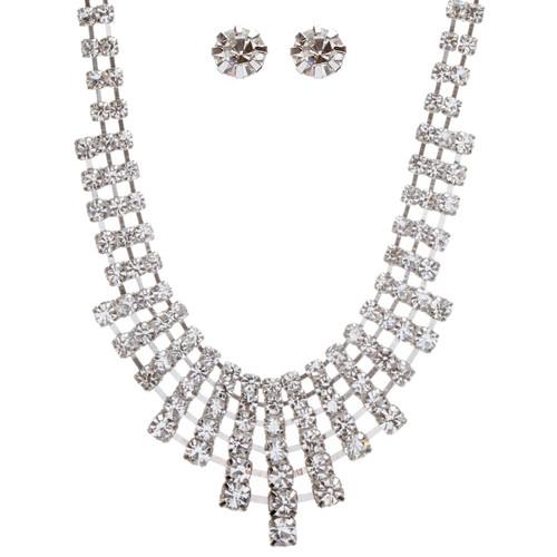 Bridal Wedding Jewelry Set Crystal Rhinestone Acr Drape Bib Design Necklace
