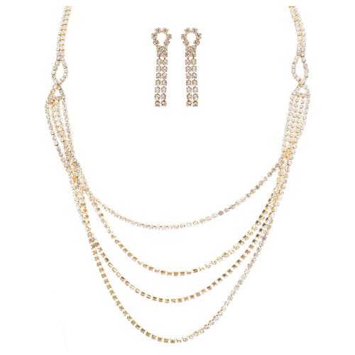 Bridal Wedding Jewelry Crystal Rhinestone Beautiful Drape Design Necklace Gold