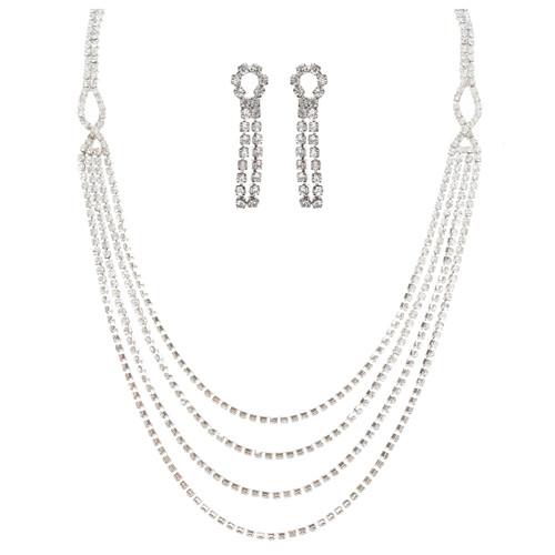 Bridal Wedding Jewelry Crystal Rhinestone Beautiful Drape Design Necklace Silver